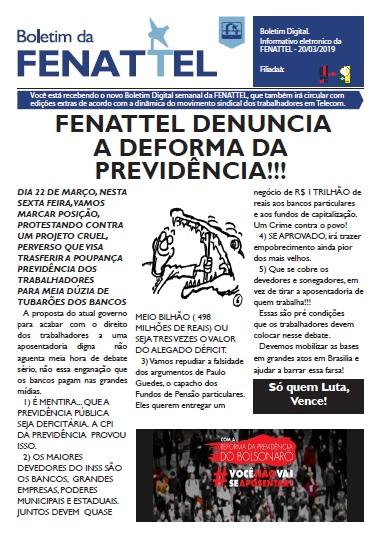 Federação dos Telefônicos denuncia Reforma da Previdência