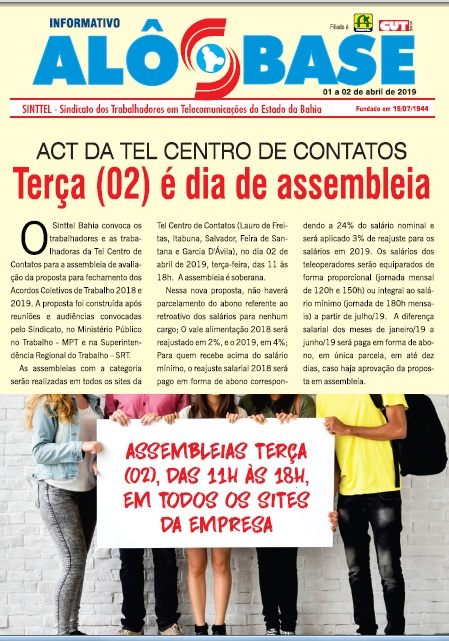 ACT da Tel Centro de Contatos: Terça (02) é dia de assembleia