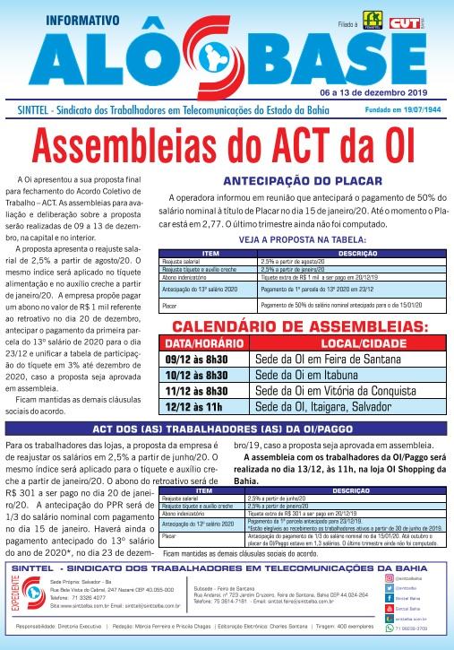 Assembleias do ACT da OI serão realizadas de 09 a 13 de dezembro