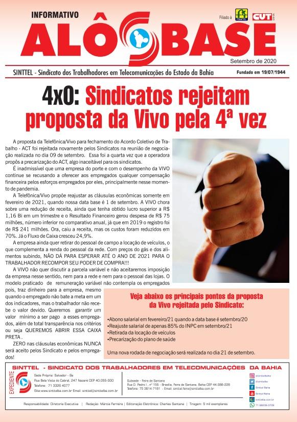 4x0: Sindicatos rejeitam proposta da Vivo pela 4ª vez