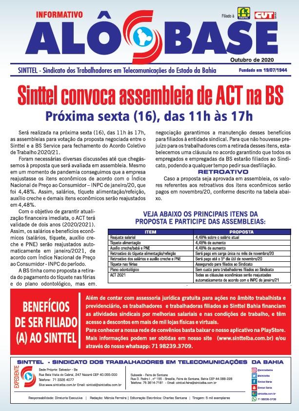 Sinttel convoca assembleia de ACT na BS Service