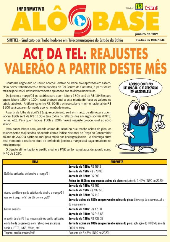 ACT da Tel: reajustes valerão a partir deste mês
