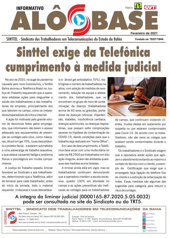 Sinttel exige da Telefônica cumprimento à medida judicial