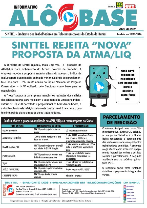 """Sinttel rejeita """"nova"""" proposta da ATMA/LIQ"""