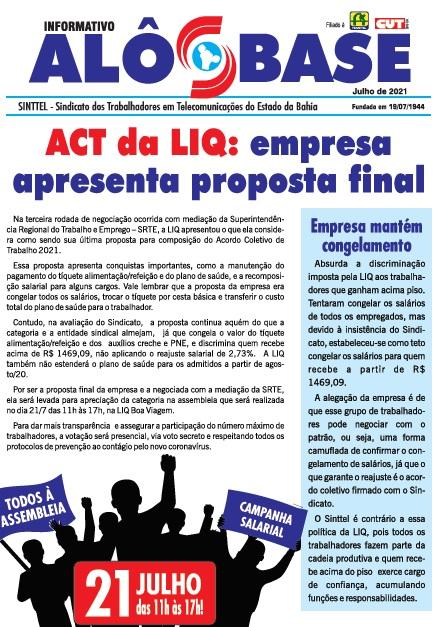 ACT da LIQ: empresa apresenta proposta final