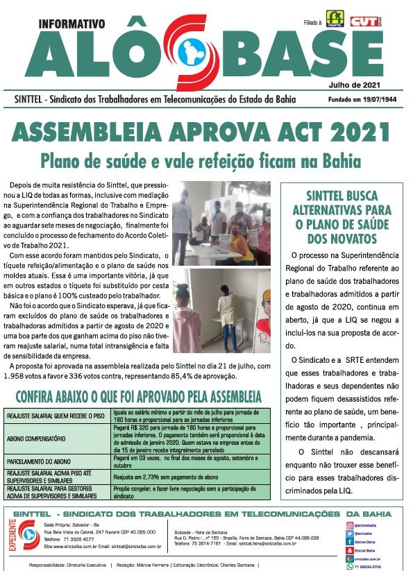 Assembleia aprova ACT 2021 l Plano de saúde e vale refeição ficam na Bahia