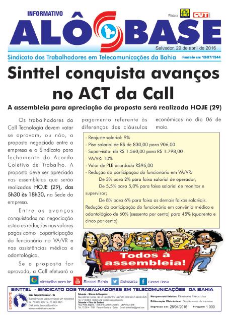 Sinttel conquista avanços no ACT da Call Tecnologia