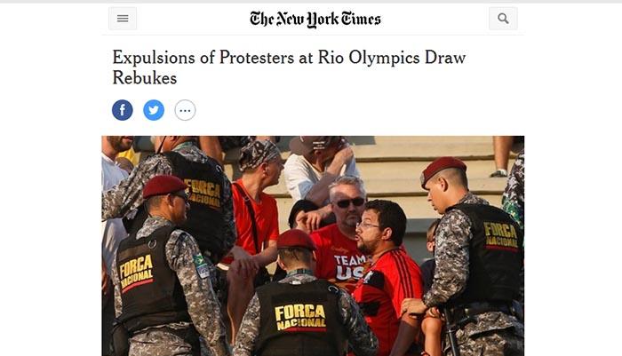 NYT: Expulsão de manifestantes de jogos na Rio 2016 aponta repressão