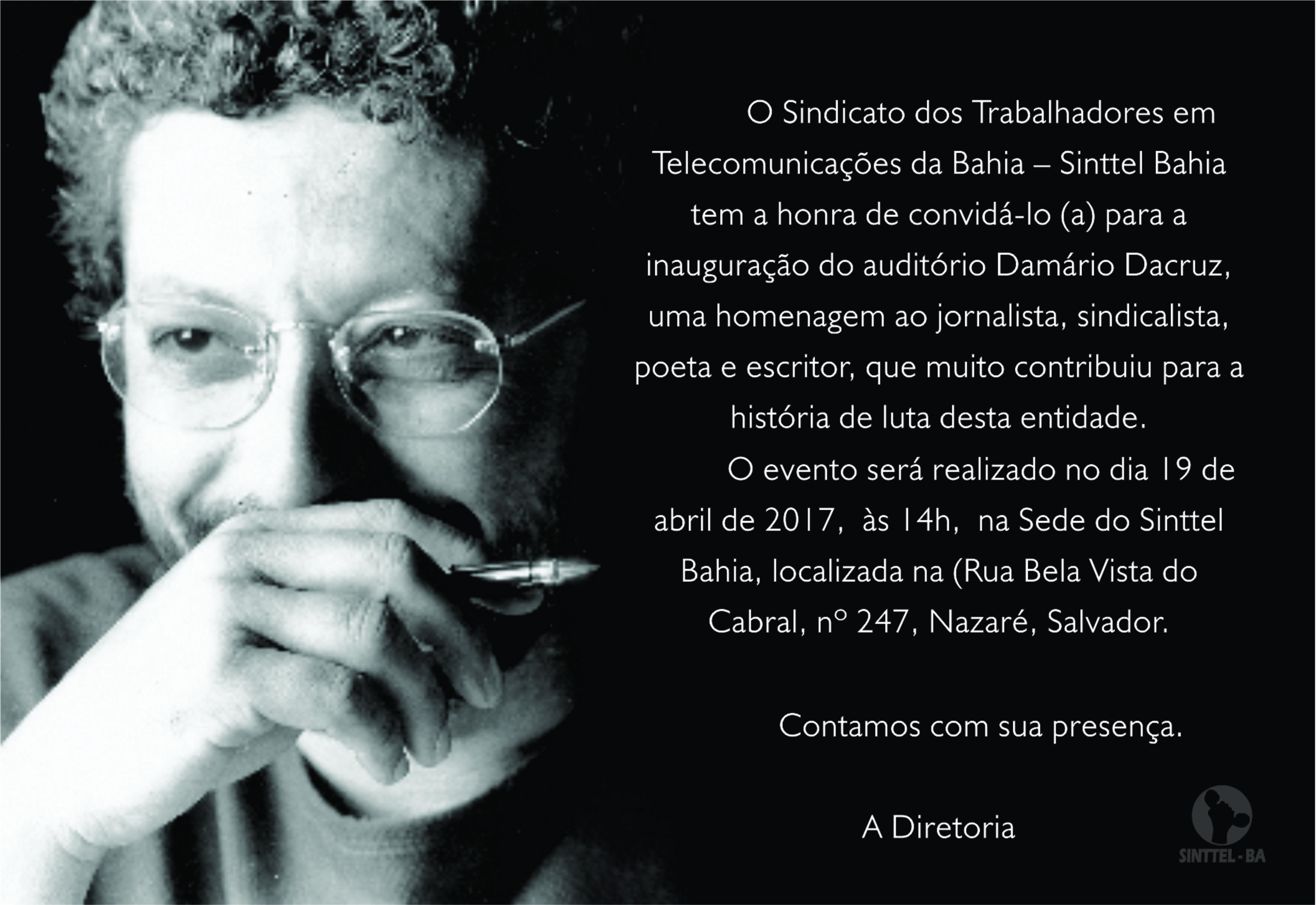Poeta Damário Dacruz será homenageado pelo Sinttel Bahia