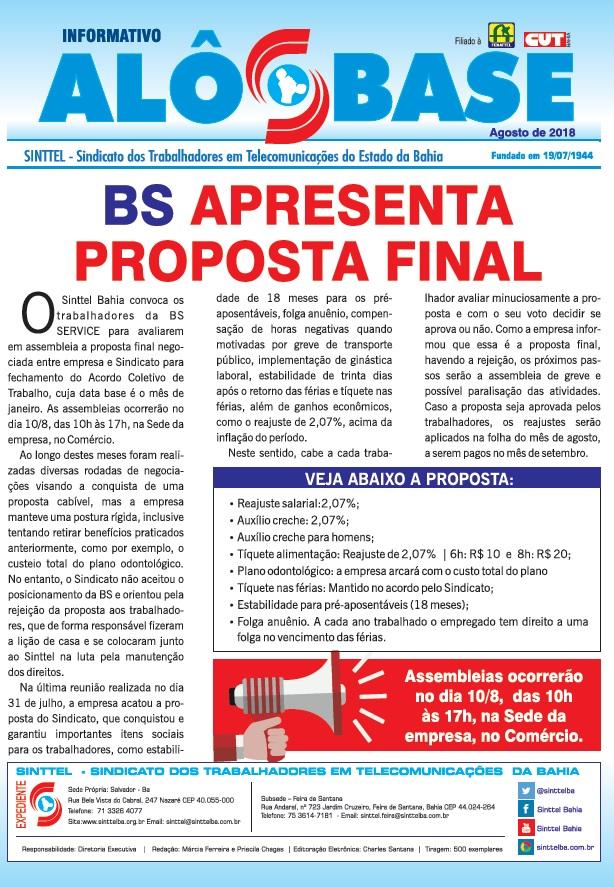BS apresenta proposta final