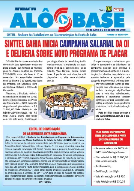 Sinttel Bahia inicia campanha salarial da OI