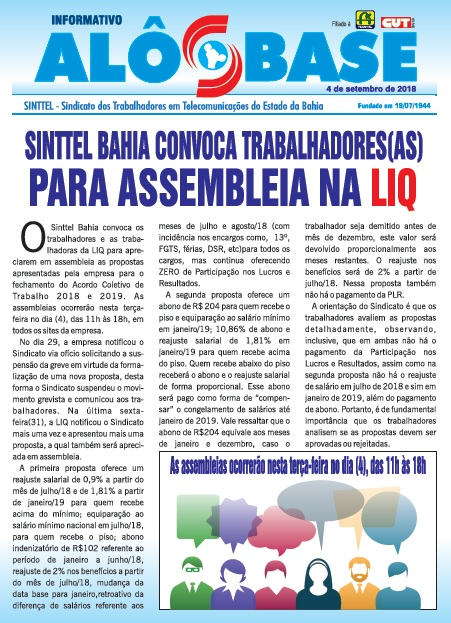 Sinttel Bahia convoca trabalhadores (as) para assembleia na LIQ